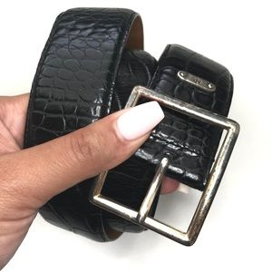Lauren Ralph Alligator Print Belt Italian Leather